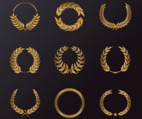 Golden laurel wreath illustration vector 02