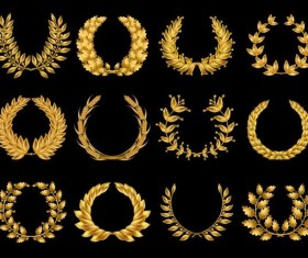 Golden laurel wreath illustration vector 03