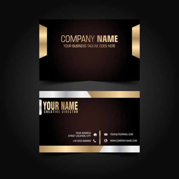 Golden with black luxury business card template vector 02