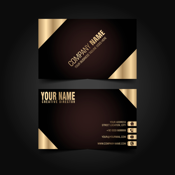 Golden with black luxury business card template vector 03