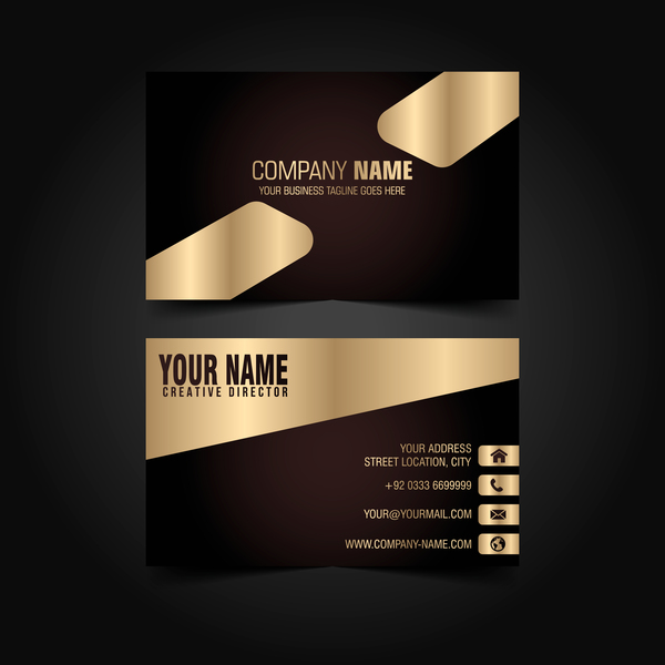 Golden with black luxury business card template vector 04 free download golden with black luxury business card template vector 04 reheart