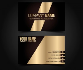 Golden with black luxury business card template vector 05