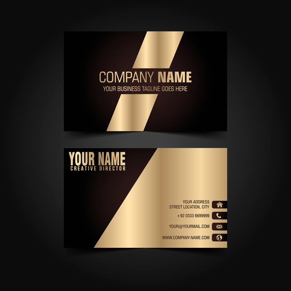 Golden with black luxury business card template vector 05 for Eps business card template