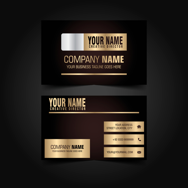 Golden with black luxury business card template vector 06