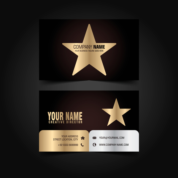 Golden with black luxury business card template vector 07