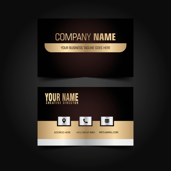 Golden with black luxury business card template vector 09