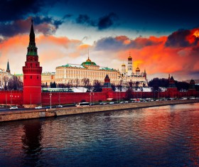 Grand Kremlin at sunset Stock Photo