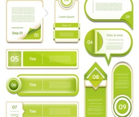 Green numbers banners design vector