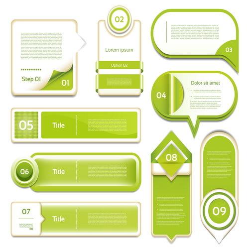 Green numbers banners design vector