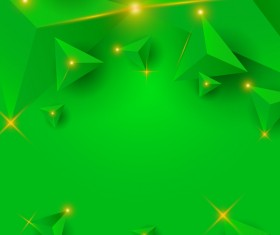 Green triangle background with star light vector