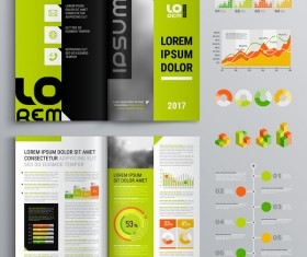 Green with black brochure cover with business infographic vector 01