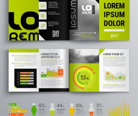 Green with black brochure cover with business infographic vector 04