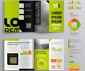 Green with black brochure cover with business infographic vector 05