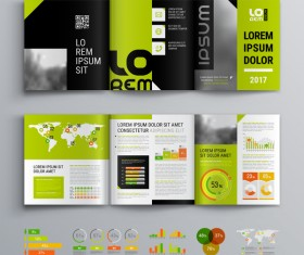 Green with black brochure cover with business infographic vector 07
