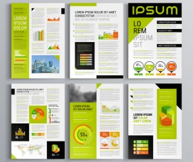 Green with black brochure cover with business infographic vector 08