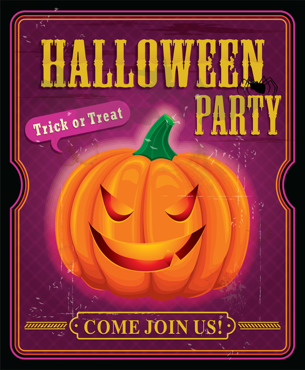 Halloween party retro poster vectors