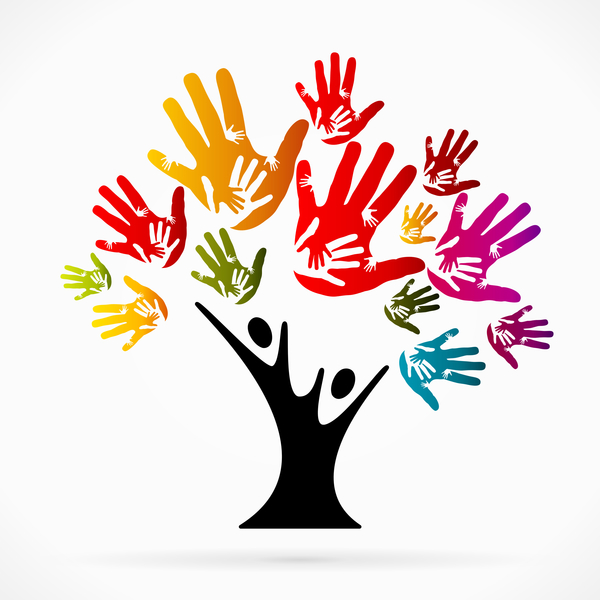 Hand with tree design vector