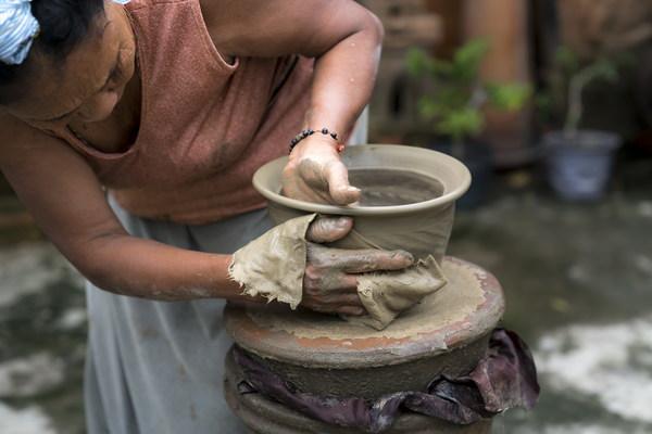 Handmade ceramic production process Stock Photo