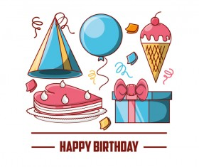 Happy birthday card with gift box and ice cream vector