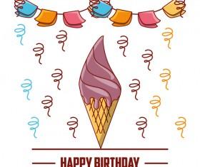 Happy birthday card with ice cream vector
