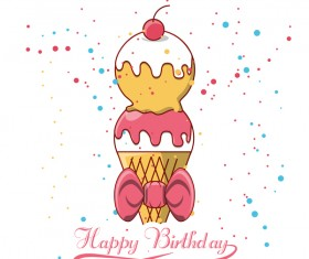 Happy birthday ice cream background vectors