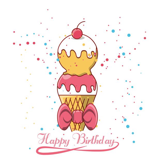 Happy birthday ice cream background vectors