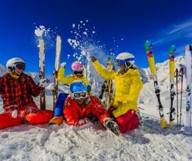 Happy family holiday skiing Stock Photo