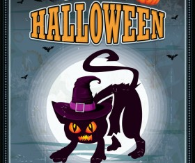 Happy halloween retro poster vectors