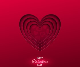 Happy valentine red background template vector 01