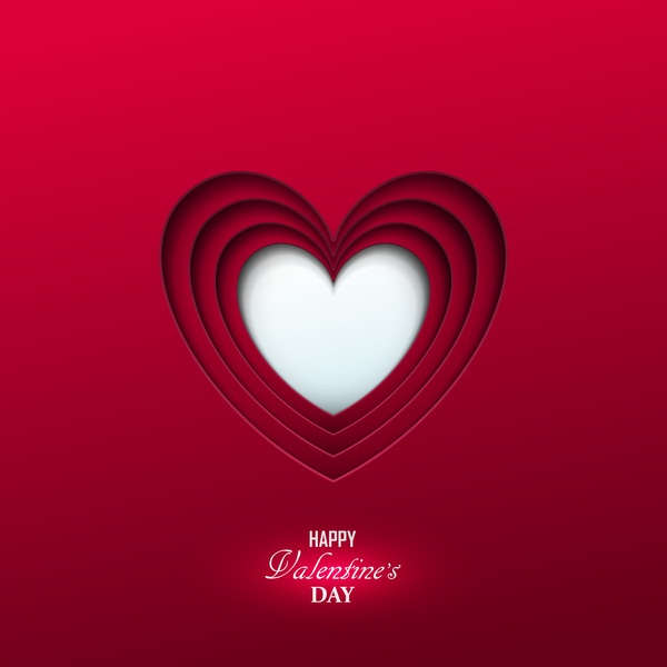Happy valentine red background template vector 02