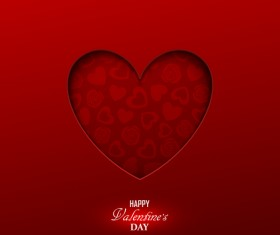Happy valentine red background template vector 03