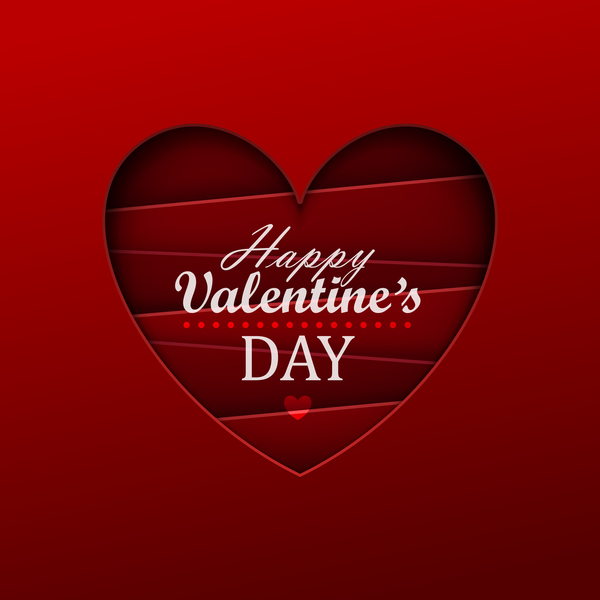 Happy valentine red background template vector 05