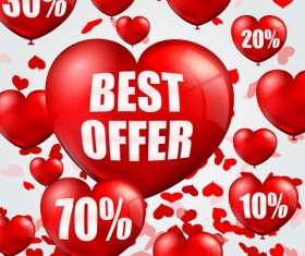 Heart balloon with sale vector