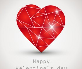 Heart geometric shape vector valentine background