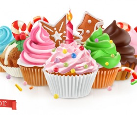Holiday Sweet dessert with cupcake vector