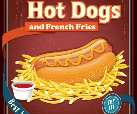 Hot dogs and french fries poster retro vector