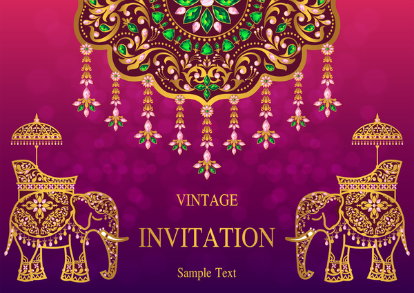India Styles Vintage Invitation Card Vector Template 02 Free