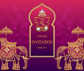 India styles vintage invitation card vector template 03
