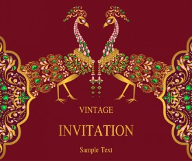 India styles vintage invitation card vector template 04