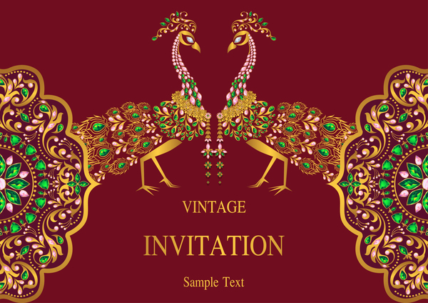India Styles Vintage Invitation Card Vector Template 04 Free