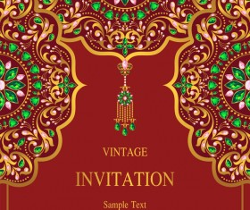 India styles vintage invitation card vector template 05