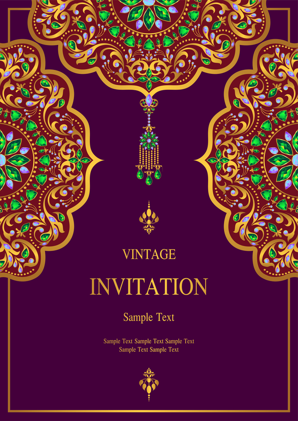 India Styles Vintage Invitation Card Vector Template 06 Free
