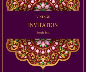 India styles vintage invitation card vector template 07