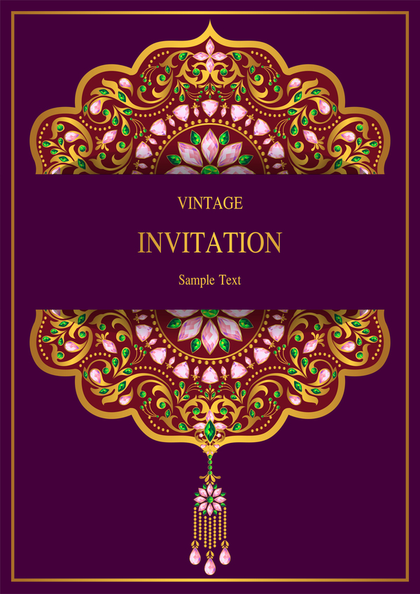 india styles vintage invitation card vector template 07 free download