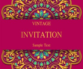 India styles vintage invitation card vector template 08