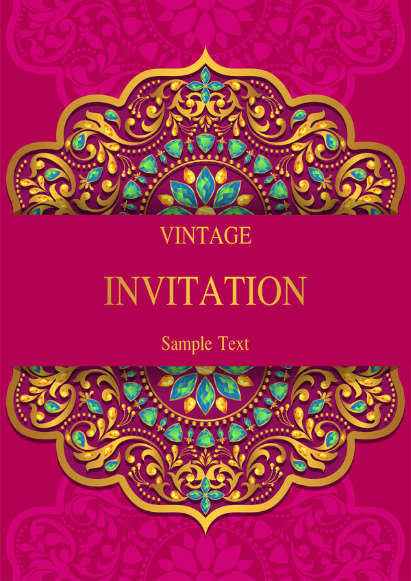 India Styles Vintage Invitation Card Vector Template 08 Free