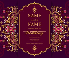 India styles vintage invitation card vector template 10