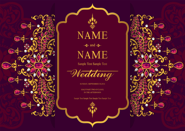 Free Online Indian Wedding Invitation Website: India Styles Vintage Invitation Card Vector Template 10