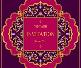 India styles vintage invitation card vector template 11