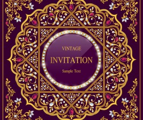 India styles vintage invitation card vector template 12